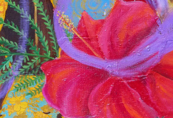 Painting - Hibiscus Detail Of Beehive Painting by Anne Cameron Cutri