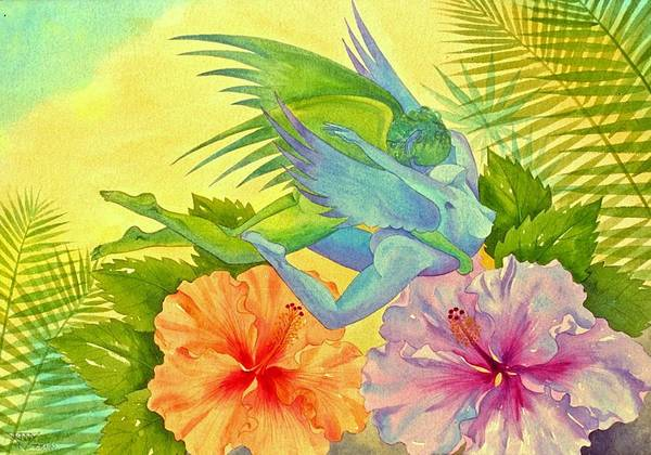 Wall Art - Painting - Hibiscus Faeries by Jennifer Baird