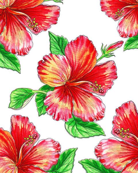 Hibiscus Flower Painting - Hibiscus Magic Garden by Irina Sztukowski