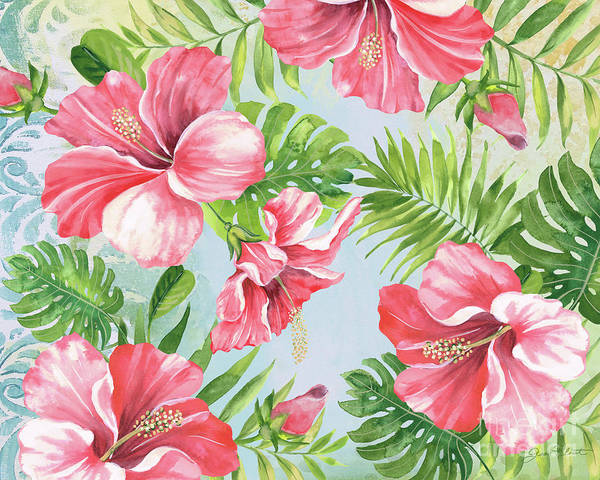 Hibiscus Painting - Hibiscus Paradise-jp3965 by Jean Plout