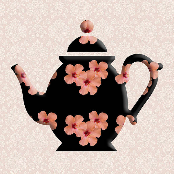 Digital Art - Hibiscus Pattern Teapot by Anthony Murphy