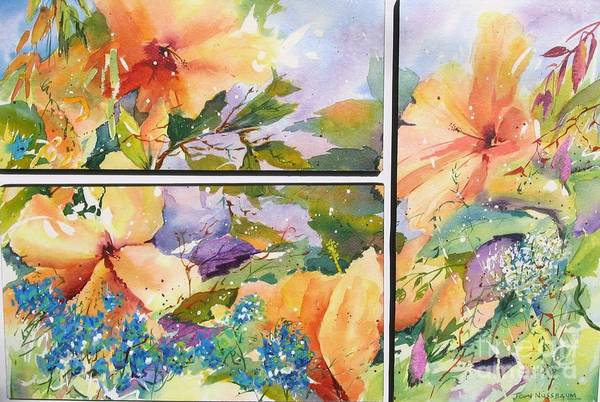 Painting - Hibiscus Triptych by John Nussbaum