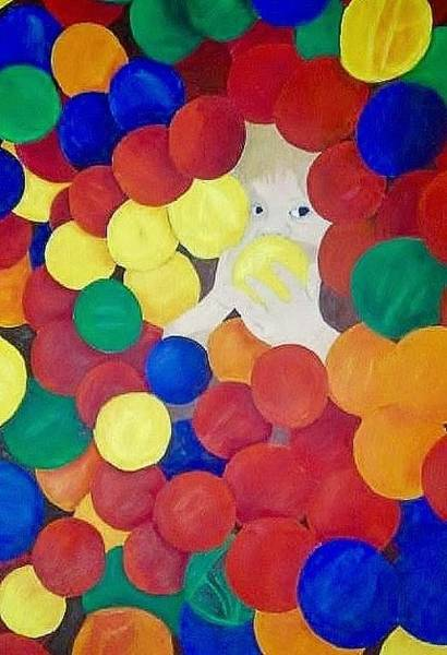 Sascha Wall Art - Painting - Hiding In The Ball-pit  by Sascha Phillips