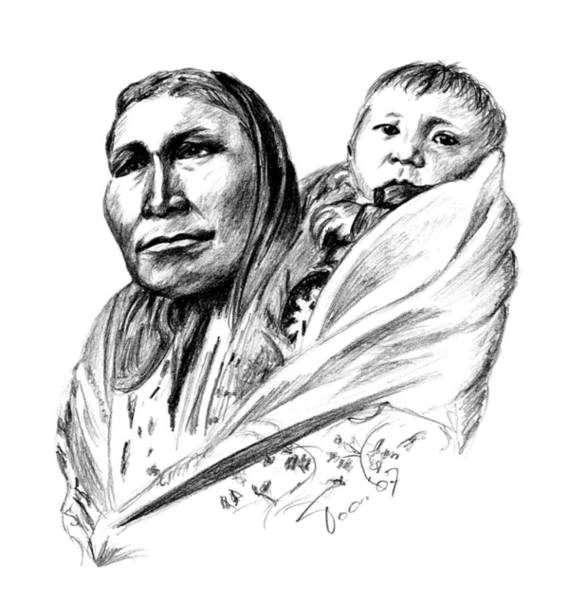 Drawing - Hiditcha Woman With Child by Toon De Zwart