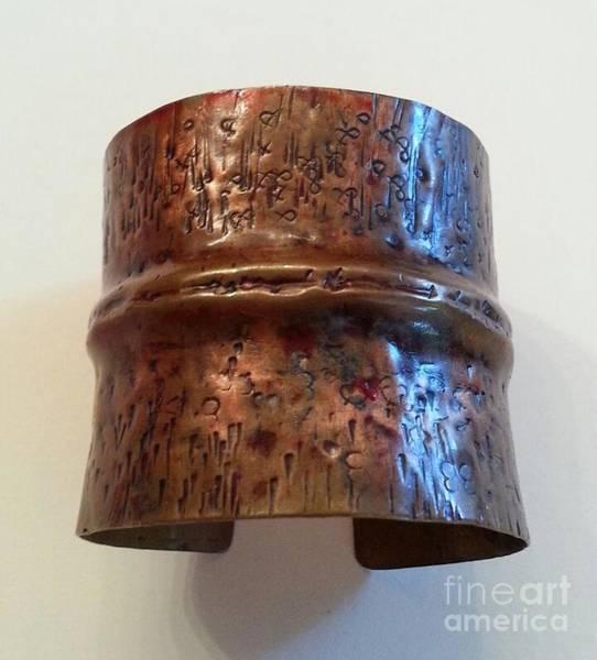 Jewelry - Hieroglyphics Copper Cuff Bracelet by Victoria Bosman