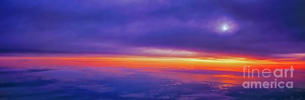 Photograph - high airliner clouds   sunrise east florida coast Atlantic ocean by Tom Jelen