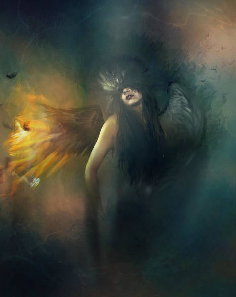 Wall Art - Digital Art - Dark Angel by Karen Koski