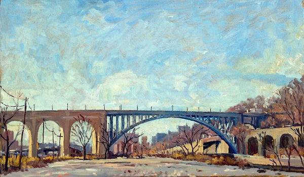 Painting - High Bridge Winter Light Nyc by Thor Wickstrom