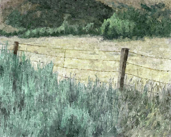 Fence Post Digital Art - High Desert Hay Field Dop by David King
