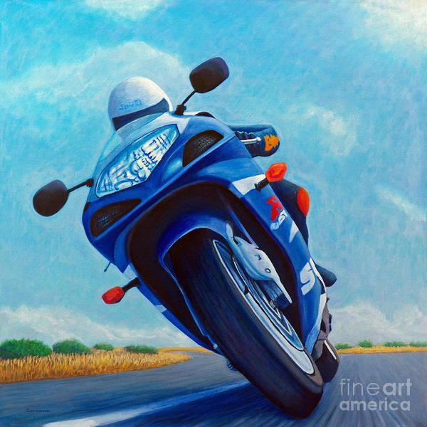 Bike Racing Painting - High Desert Pass - Suzuki Gsxr1000 by Brian  Commerford