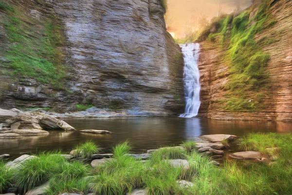 Fall Scenery Mixed Media - High Falls Sunrise by Lori Deiter