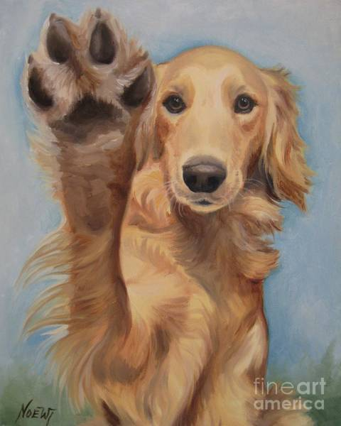 Golden Retriever Painting - High Five by Jindra Noewi