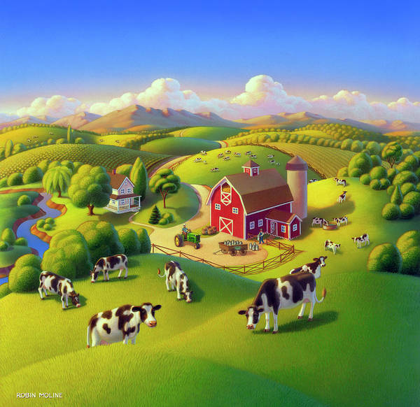 Wall Art - Painting - High Meadow Farm  by Robin Moline
