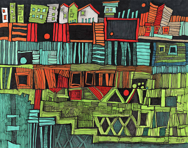 Semi Abstract Drawing - High Places by Sandra Church