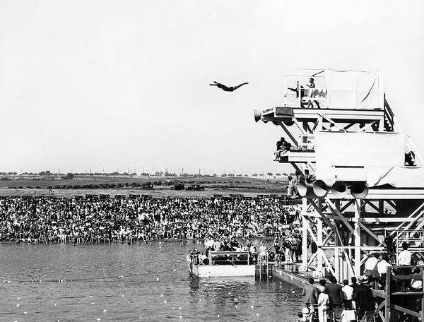 Plunge Photograph - High Platform Swan Dive by Underwood Archives