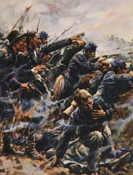 Wounded Soldier Painting - High Tide At Gettysburg by American School
