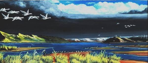 Water Foul Painting - High Tide Swans by Bob Patterson