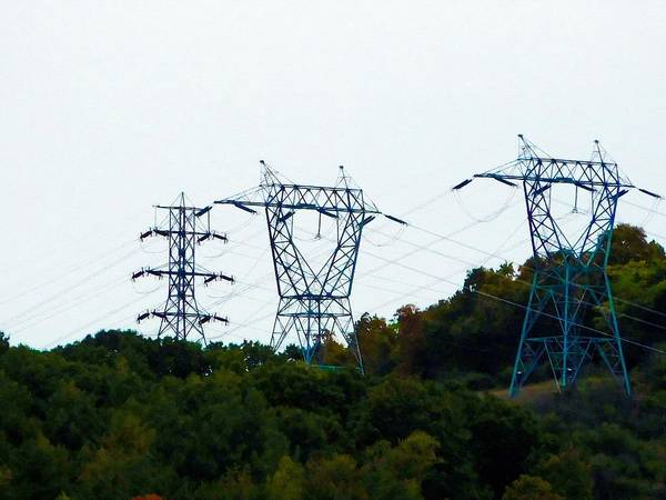 Pylon Painting - High-voltage Power Transmission Towers 1 by Jeelan Clark