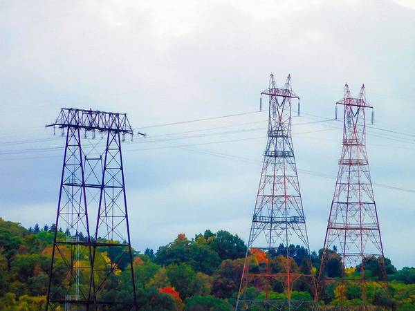 Pylon Painting - High-voltage Power Transmission Towers  2 by Jeelan Clark