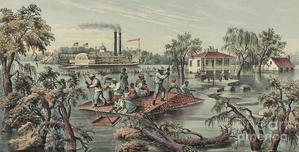 Overflow Painting - High Water On The Mississippi, 1868  by Currier and Ives