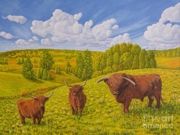 Salo Wall Art - Painting - Highland Cattle Pasture by Veikko Suikkanen