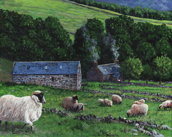 Ram Painting - Highland Croft by Timithy L Gordon