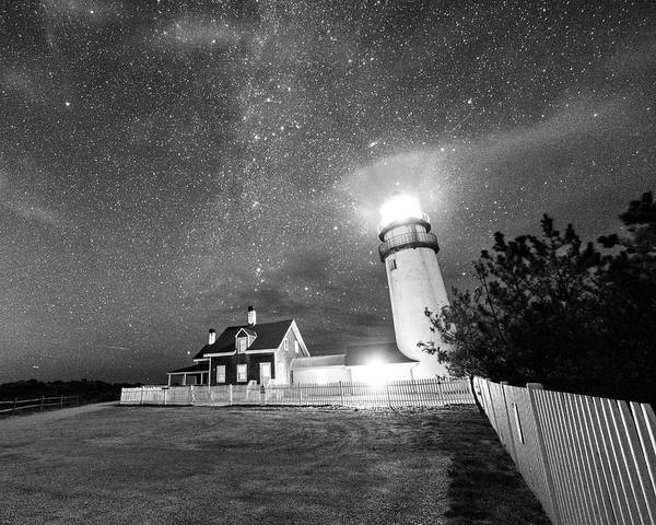 Photograph - Highland Light Truro Massachusetts Cape Cod Starry Sky Shadow Yard Black And White by Toby McGuire