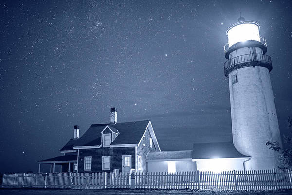 Photograph - Highland Lighthouse Truro Ma Cape Cod Monochrome Blue Nights by Toby McGuire