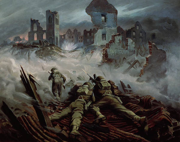 Warfare Painting - Highlanders Advancing To Caen by Orville Norman Fisher