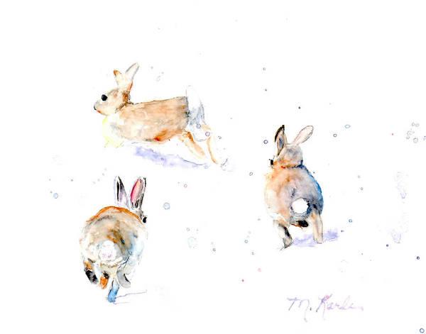 Hightailing Bunnies Art Print