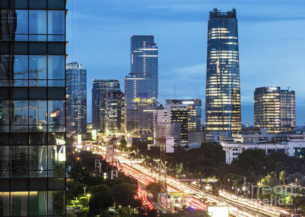 Photograph - Highway In Jakarta Business District At Night In Indonesia by Didier Marti