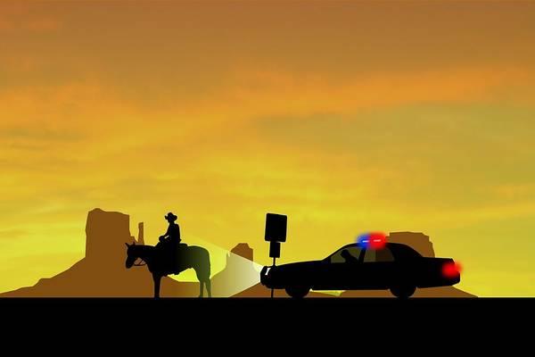 Valley Digital Art - Highway Patrol Scene by Nestor PS