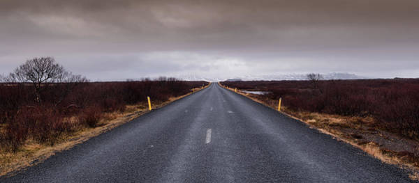 Icelandic Landscapes Wall Art - Photograph - Highway Straight Road Leading To The Snowy Mountains by Michalakis Ppalis