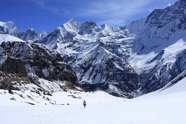Photograph - Hiker In Mountain Landscape by Aidan Moran
