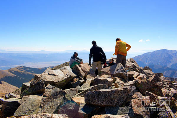 Photograph - Hikers At Summit On Mount Yale Colorado by Steve Krull
