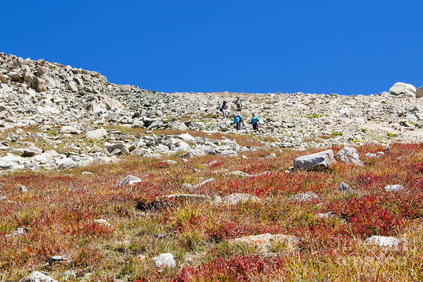 Photograph - Hikers Climbing Down From Summit On Mount Yale Colorado by Steve Krull