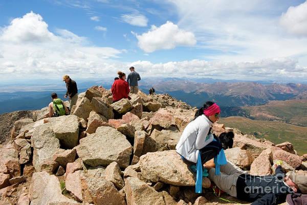 Photograph - Hikers On Bierstadt Summit by Steve Krull