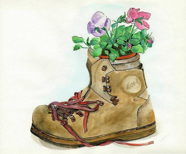 Wall Art - Painting - Hiking Boot Flower Pot by Sheryl Heatherly Hawkins