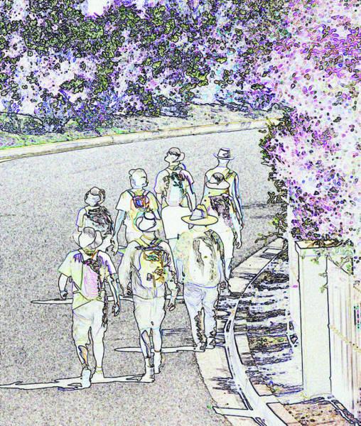 Orange County Digital Art - Hiking Down The Street I  Painterly Glowing Edges Invert  by Linda Brody