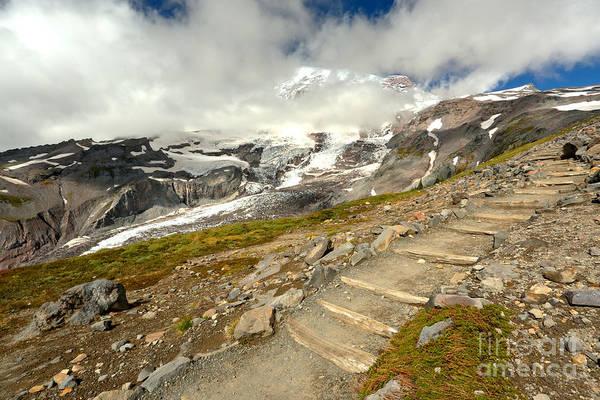 Mt. Adams Photograph - Hiking The Rainier Skyline Trail by Adam Jewell