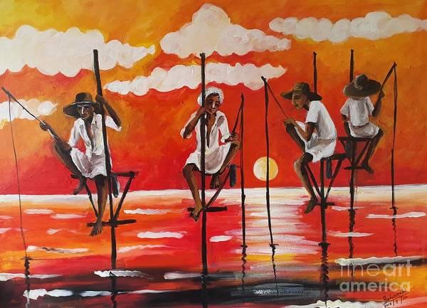 Wall Art - Painting - Hikkaduwa Beach by Sudumenike Wijesooriya