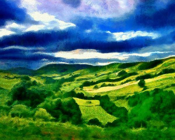 Digital Art - Hill And Fields by Caito Junqueira