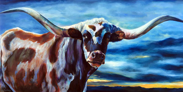 Longhorn Painting - Hill Country Longhorn by Robert Pankey