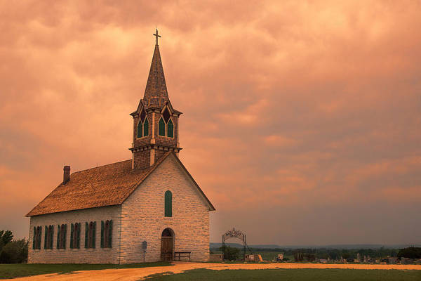 Old Church Photograph - Hill Country Sunset - St Olafs Church by Stephen Stookey