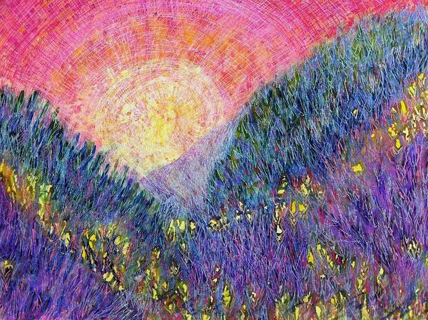 Mixed Media - Hills Of Purple Heather by Polly Castor