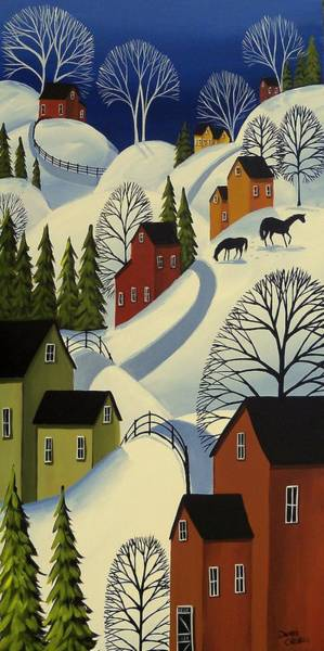 Barn Snow Painting - Hills Of Winter - Snow Landscape by Debbie Criswell