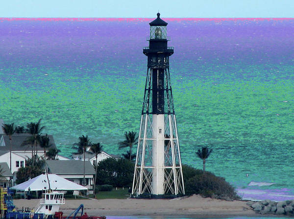 Photograph - Hillsboro Lighthouse Purple Horizon by Corinne Carroll