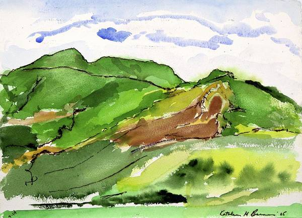 Hillside And Clouds Art Print