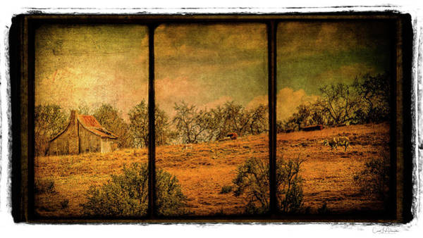 Wall Art - Digital Art - Hillside Farm Scene Triptych by Carol Fox Henrichs