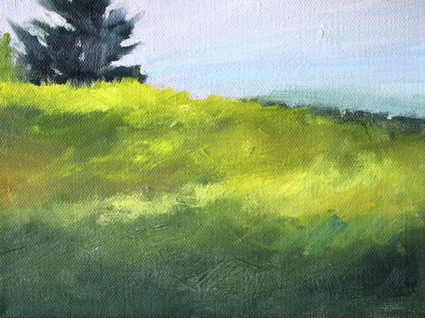 Semi Abstract Painting - Hillside Meadow by Nancy Merkle